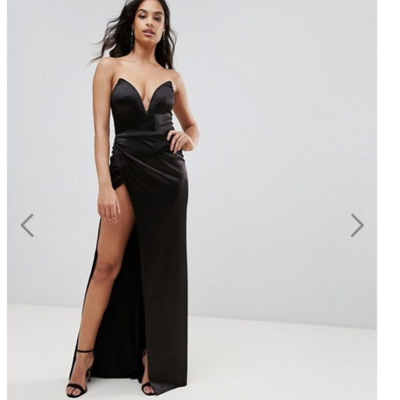 7fe8736d ASOS Dresses | Plunge Front Bandeau Maxi Dress With Thigh Split ...